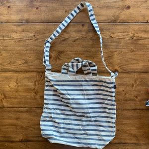 Baggu canvas tote blue and white striped